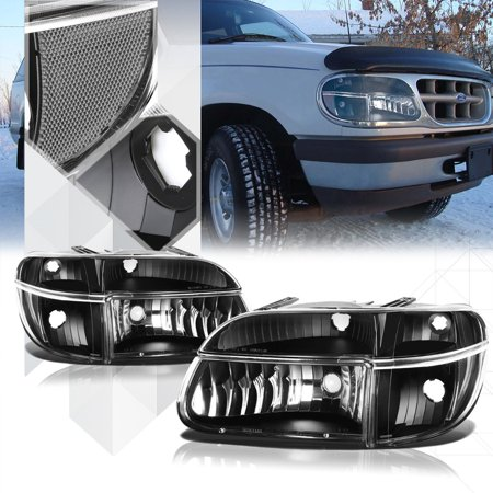 Black Housing Headlight Clear Turn Signal For 95 01 Ford Explorer 97 Mountaineer 96 98 99 00