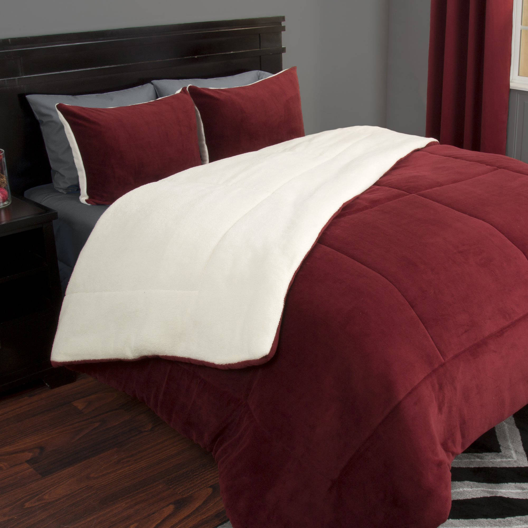 Somerset Home Sherpa/Fleece Bedding Comforter Set