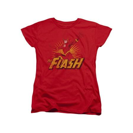 The Flash Classic Vintage Style DC Comics Superhero Women's T-Shirt (Womens Flash)