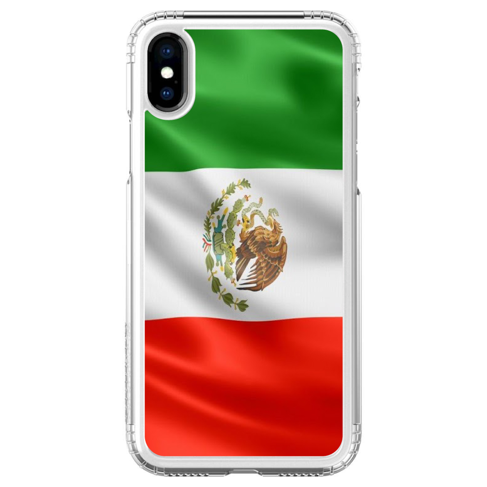 iPhone X SaharaCase ® Clear Shockproof Custom Case By DistinctInk ®- Protective Kit & ZeroDamage Screen Protector - Red White Green Mexican Flag Mexico