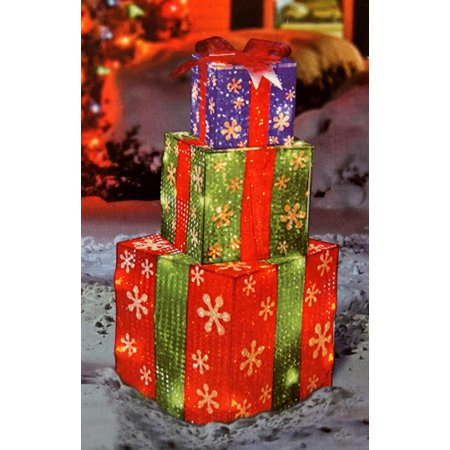 24 stacked holographic snowflake present lighted christmas yard art decoration