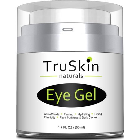 TruSkin Eye Gel for Wrinkles, Fine Lines, Dark Circles, Puffiness, Bags, 75% ORGANIC Ingredients, With Hyaluronic Acid, Jojoba Oil, MSM, Peptides and More, Refreshing Eye Cream Combination