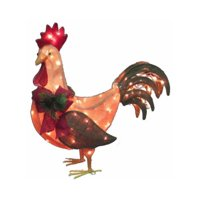 Citi Talent 54-443-087 Christmas Decoration, Lighted Burlap Rooster, 28 x 27.5-In.