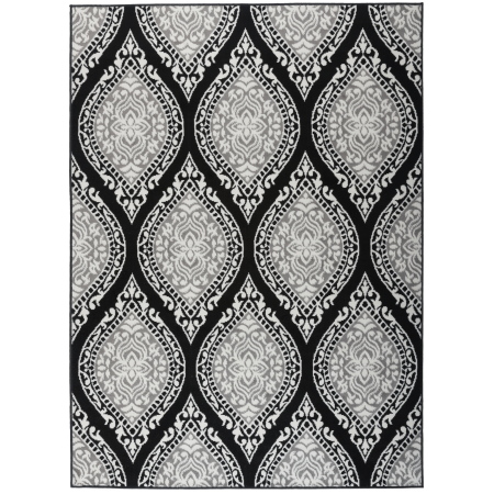 Kashan Rug - Antep Rugs Kashan King Collection 512 Polypropylene Indoor Area Rug Gray and Black 5' X 7'