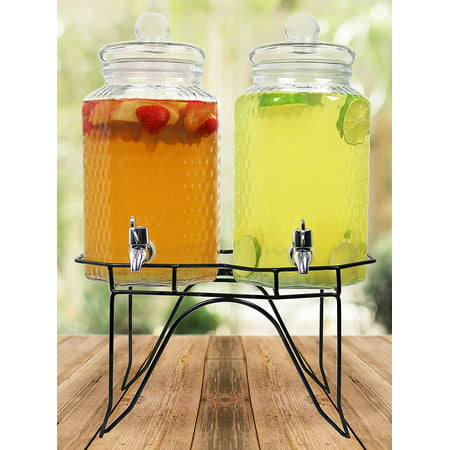 Estilo Hammered Glass Double Beverage Drink Dispenser On Stand With Leak Free Spigot, 1 Gallon Each ()