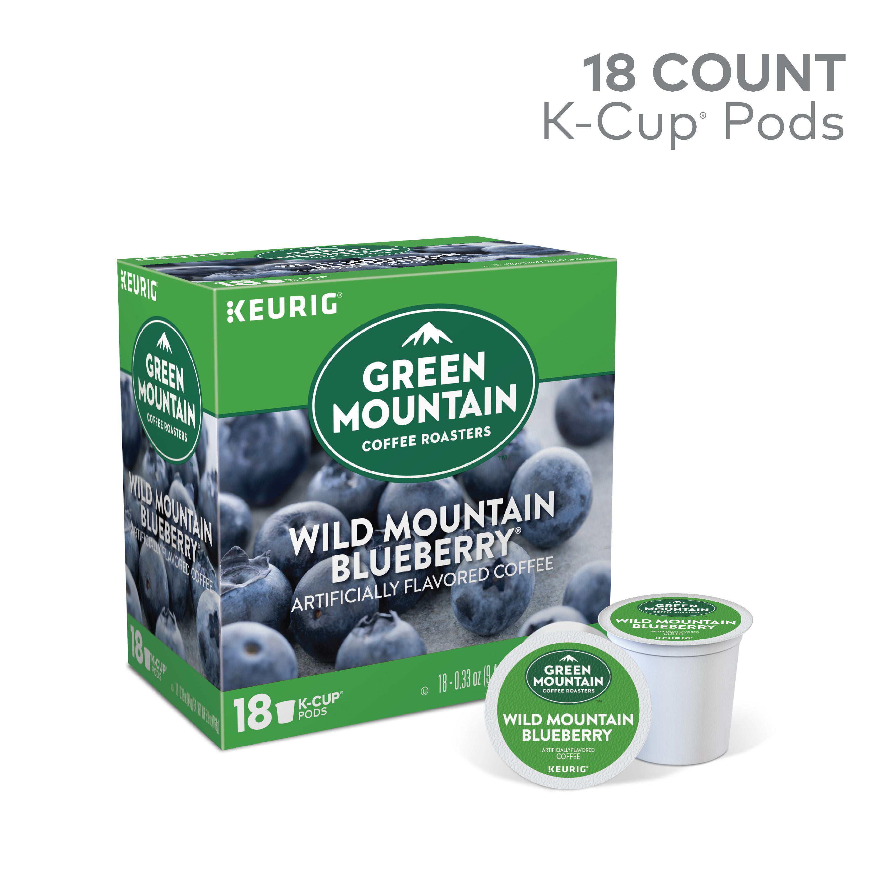 Green Mountain Coffee Wild Mountain Blueberry, Flavored Keurig K-Cup Pod,  Light Roast, 18 Ct