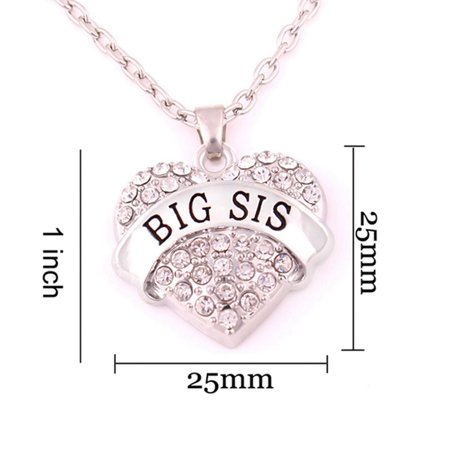 AkoaDa Pink Crystal Heart Necklace Big Sis Letter Pendant Birthday Gifts Women Girls Family Sisters