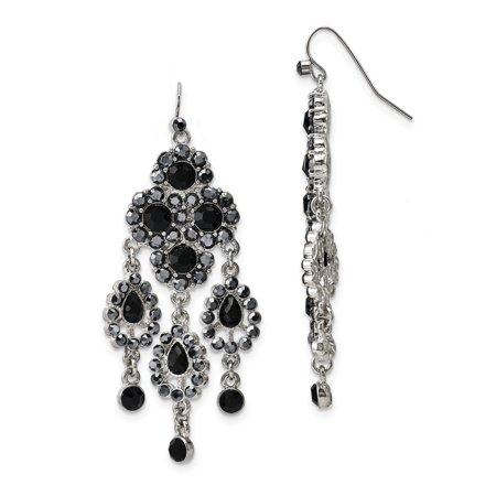 Silver-tone Black Glass Stones Chandelier Earrings BF1099 - image 1 de 2