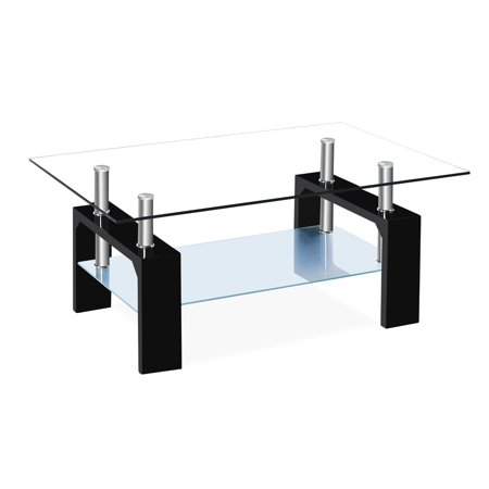 Zimtown Black Coffee Table Rectangular Living Room Home Office Glass Top Wooden Frame ()