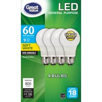 4-Pack Great Value LED Light Bulbs 8.5W 60W Equivalent