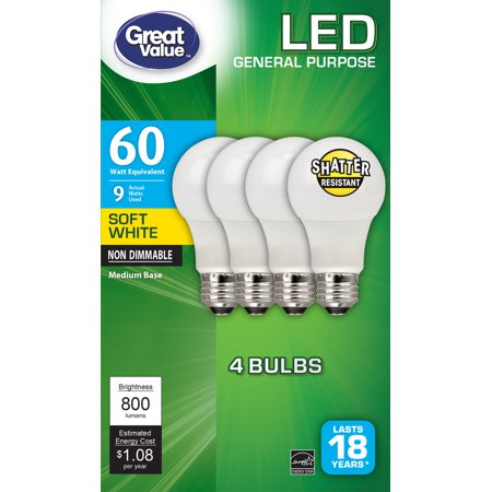(Great Value LED Light Bulbs, 8.5W (60W Equivalent), Soft White, 4-Pack)