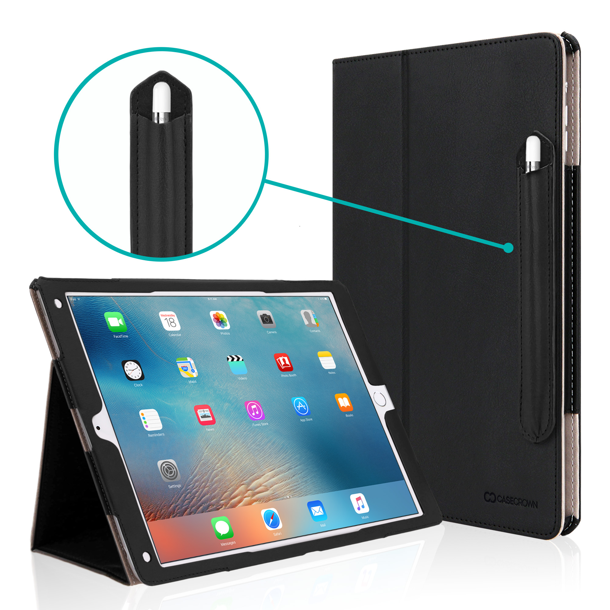 iPad Pro 12.9 Case, [Corner Protection] CaseCrown Bold Standby Pro w/ Apple Pencil Holder