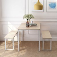 Harper & Bright Designs 3-Piece Dining Set, Kitchen Table with 2 Benches