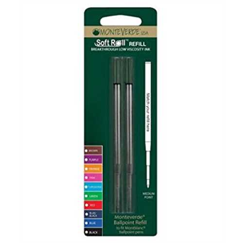 Refurbished Monteverde Soft Roll Ballpoint Refill For Montblanc Pens, Black (M142Bk)