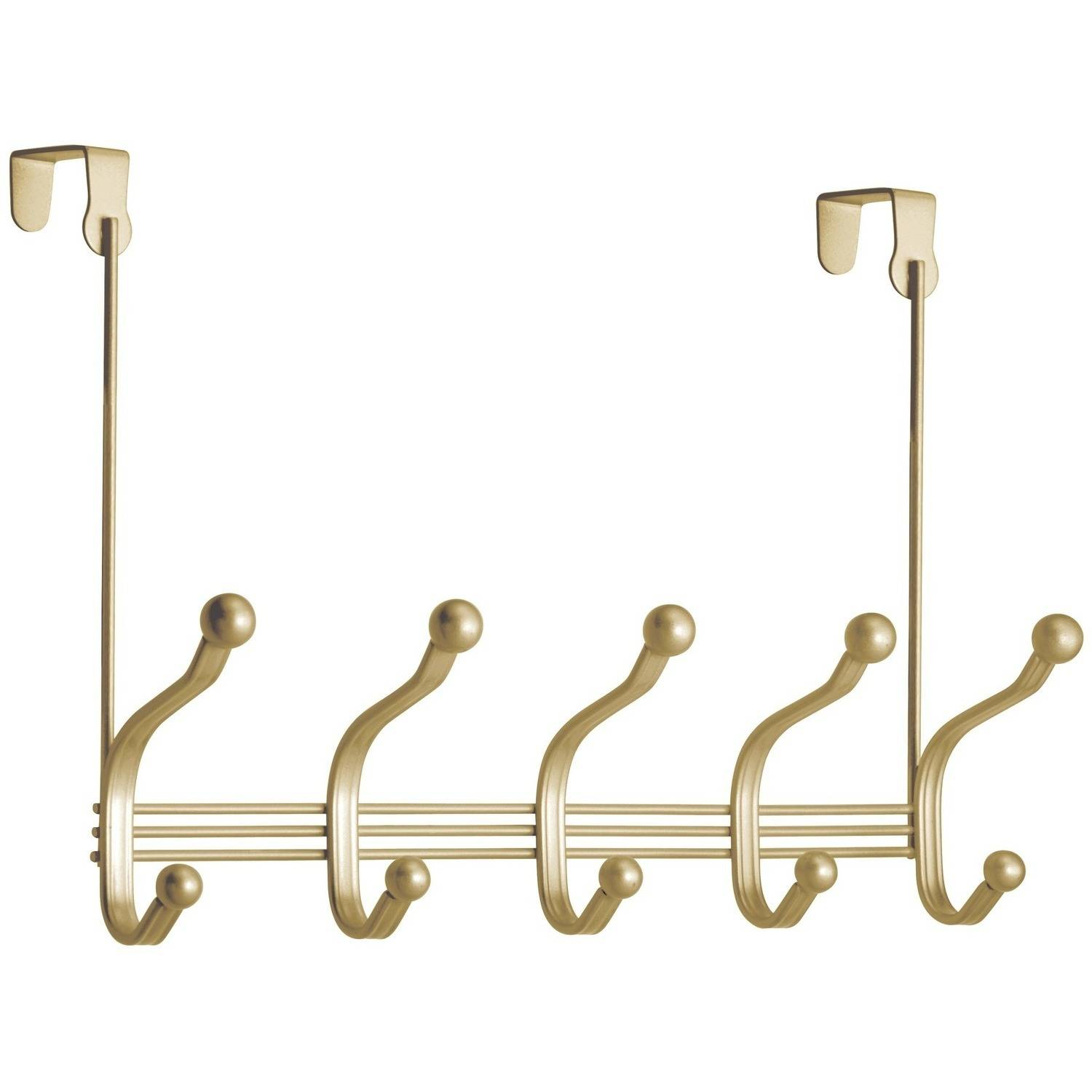 InterDesign York Lyra Over the Door Organizer 10 Hook Rack, Pearl Gold