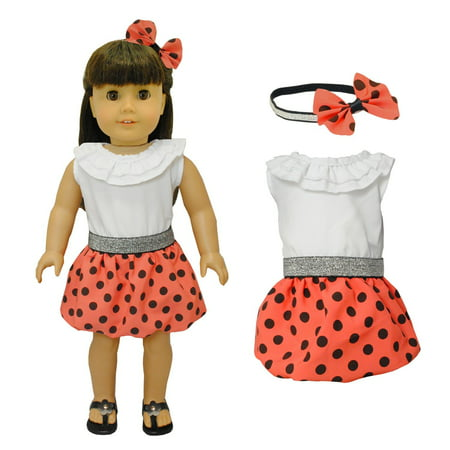 Doll Clothes - Red Polka Dots Dress with Head Band Set Fits American Girl Doll, My Life Doll and 18 inch dolls