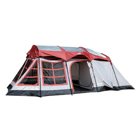 Tahoe Gear Glacier 12-14 Person 3-Season Family Cabin Tent, Red and