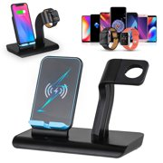 2 in 1 Wireless Phone Fast Charger Charging Pad Stand & Watch Charging Holder Fit for Apple Watch Series 5/4/3/2/1, Qi Wireless Charging Station Dock Fit for iPhone 11/XS/X/8/7P/6S/Galaxy More