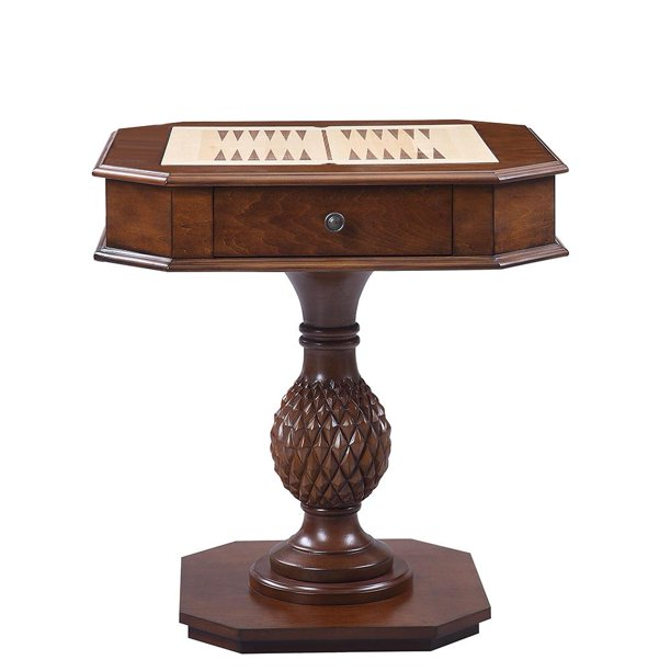 Solid wood chess game table, 28-inch brown with drawers - Walmart