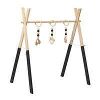 Baby Infant Wooden Play Stand Station Toddler Gym Nursery Fun Hanging Toys Mobile Newborn Activity Wood Rack with 3 Gym Toys Home