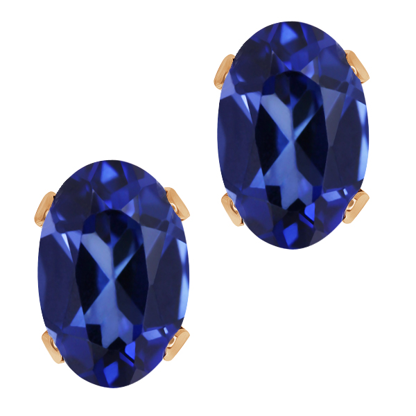 1.36 Ct Oval 6x4mm Blue Simulated Sapphire 14K Rose Gold Stud Earrings