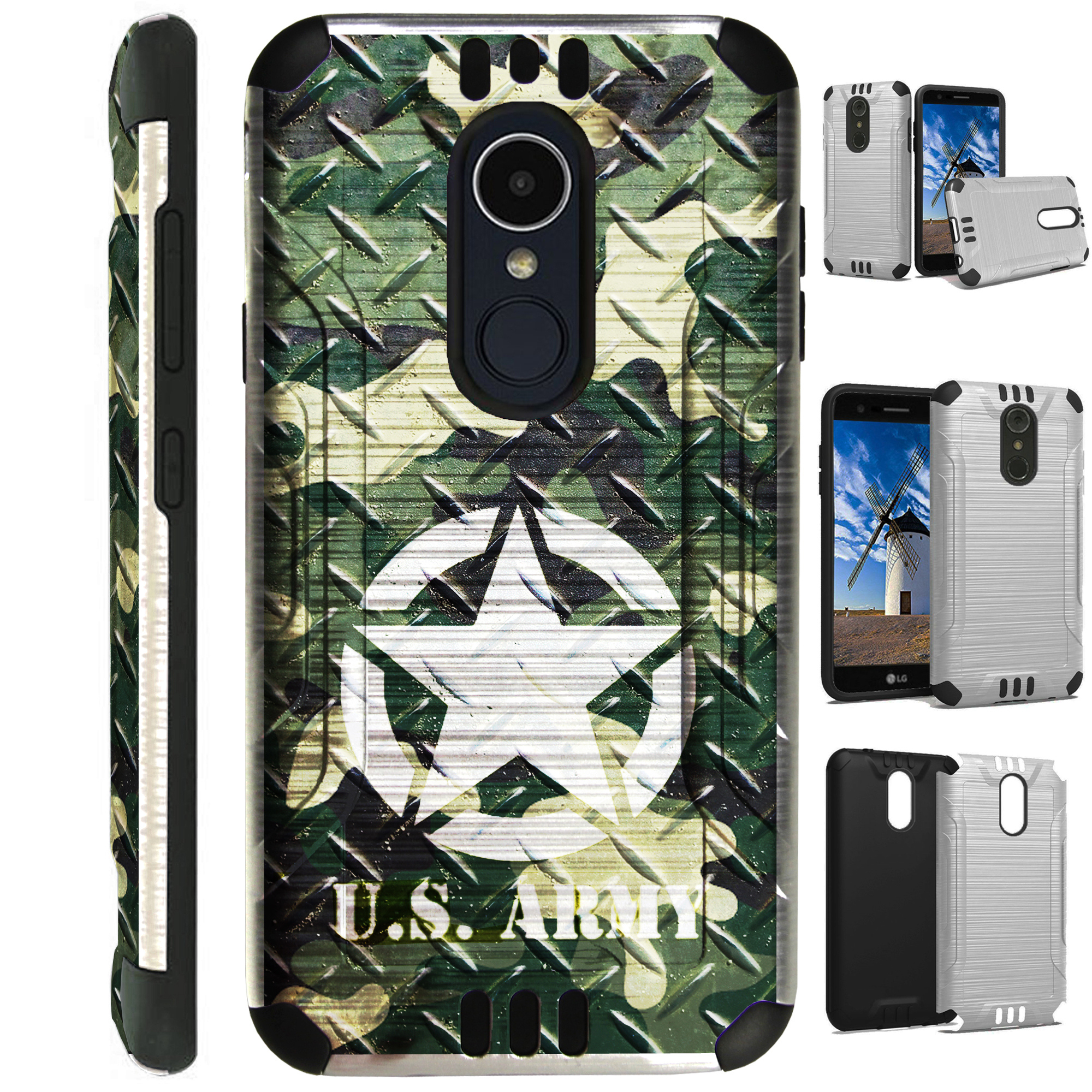 For LG Rebel 3   LG Rebel 4 Case Brushed Metal Texture Hybrid TPU Silver Guard Phone Cover (US Army Crosshatch)