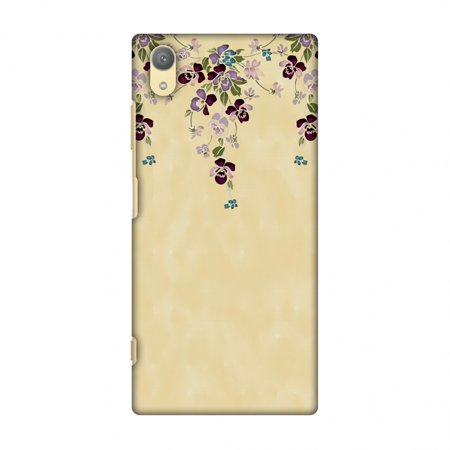 Yellow Butterfly Snap (Sony Xperia XA1 Plus Case - Butterfly poppy- Violet and pale yellow, Hard Plastic Back Cover, Slim Profile Cute Printed Designer Snap on Case with Screen Cleaning Kit )