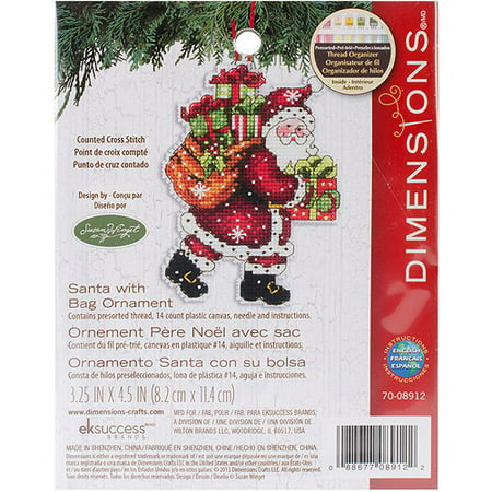 Susan Winget Santa with Bag Ornament Counted Cross-Stitch Kit, 3-1/2