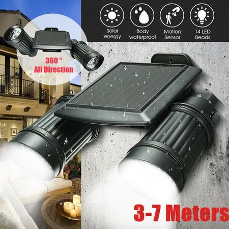 - Waterproof 14 LED Solar Power PIR Motion Sensor Wall Lamp Light Garden Yard Outdoor Security Spotlight