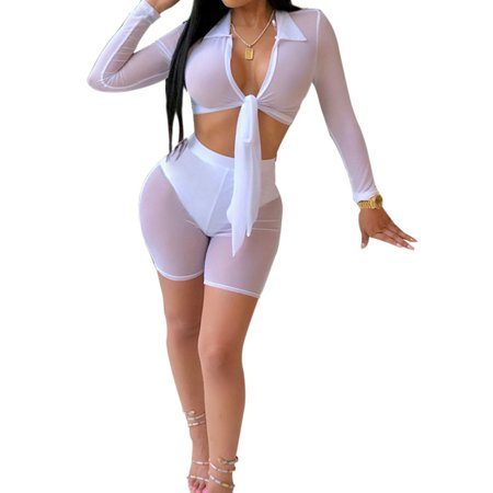 Women Mesh Sheer Bikini Cover Up Long Sleeve See Through Knot Crop Top+Shorts (Best Winter Cover Crop)