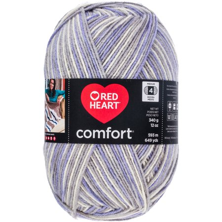 Lavender Heart (Red Heart Comfort Yarn-Grey & Lavender Print)