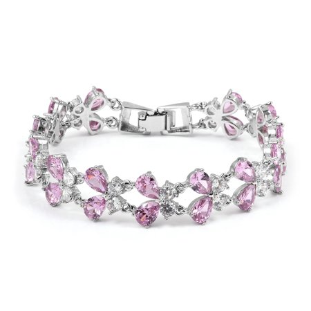 - Pear Cubic Zircon Pink White Cubic Zirconia CZ Butterfly Bracelet for Women 7.5