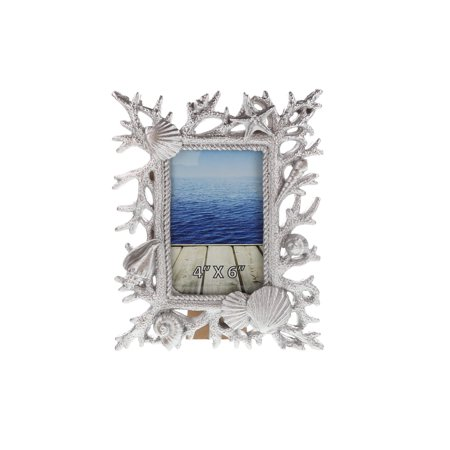 Nautical Decor CoTa Global Resin Silver Shells and Corals Photo Frame