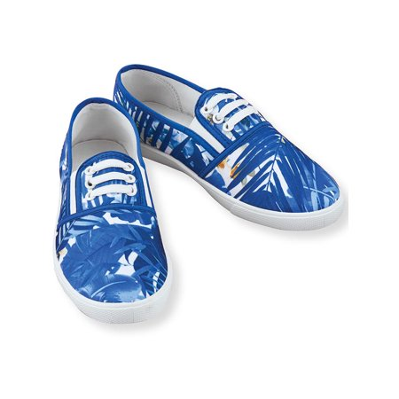 Tropical Floral Print No-Tie Sneakers with Comfortable Padded Insoles, Cute and Casual Style, 11 M Us, Blue