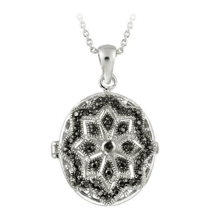 Diamond Oval Locket (Black Diamond Accent Filigree Oval Locket Necklace )