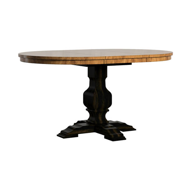 "Weston Home 40- 60"" Oval Wood Dining Table with Leaf, Oak Top"