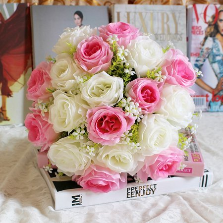 18Head Artificial Silk Roses Flowers Bridal Bouquet Rose Home Wedding Decor I