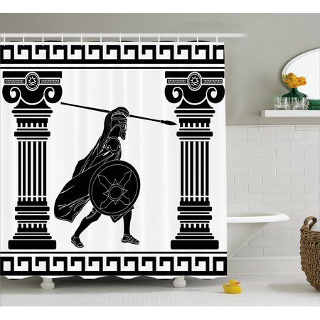 f7637b1289c6 Toga Party Shower Curtain, Black Warrior Silhouette Ready to Attack Between  Ancient Ionic Palace Columns, Fabric Bathroom Set with Hooks, Black White,  ...
