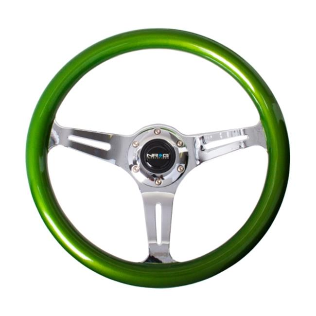 NRG Innovations ST-015CH-GN 350 mm Classic Wood Grain Wheel with 3 Chrome Spokes, Green Pearl & Flake Paint