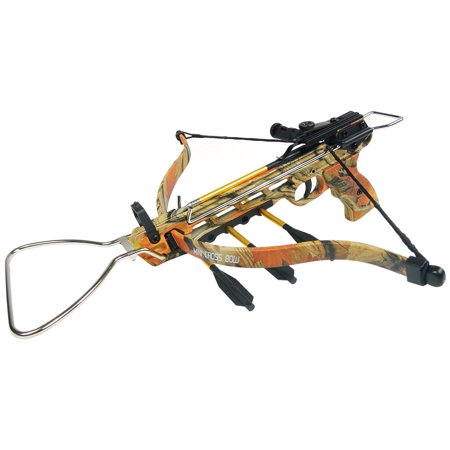 iGlow 80 lb Black / Camouflage Aluminum Hunting Pistol Crossbow Bow with Build-In Arrow Holder +15 Bolts +2 Strings