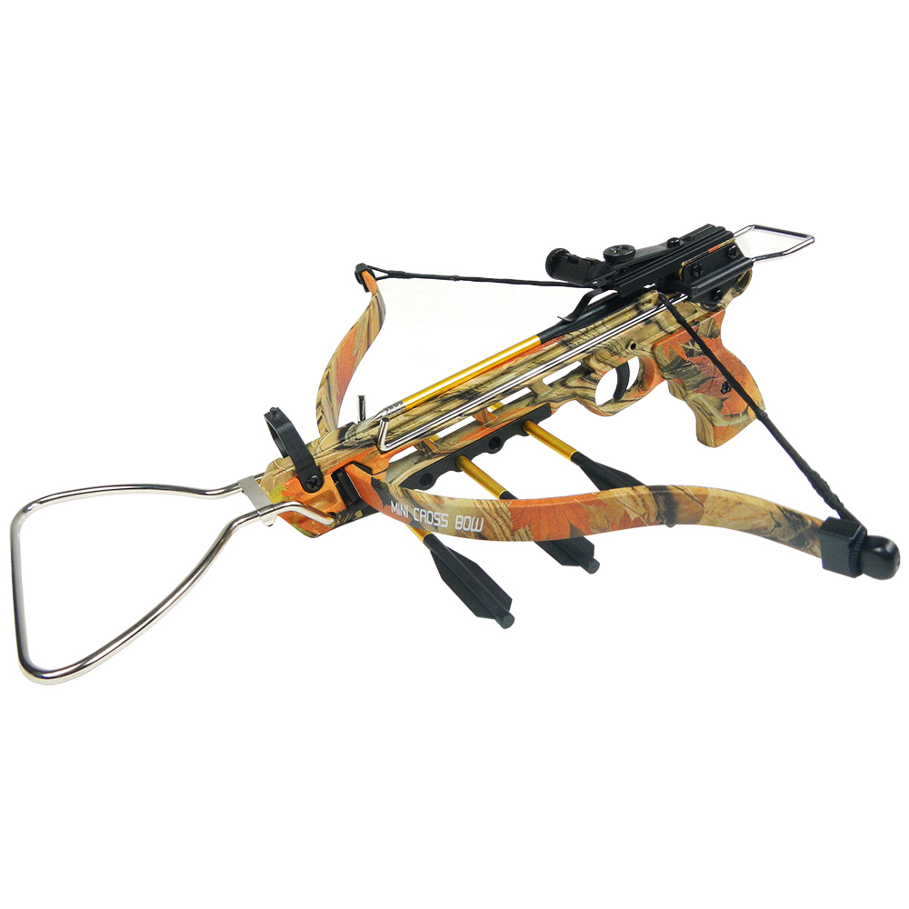 iGlow 80 lb Black / Camouflage Aluminum Hunting Pistol Crossbow Bow with Build-In Arrow Holder +15 Bolts +2 Strings 50