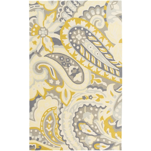 3' x 5' Paisley Splash Beige, Yellow, and Light Gray Hand Hooked Outdoor Throw Rug