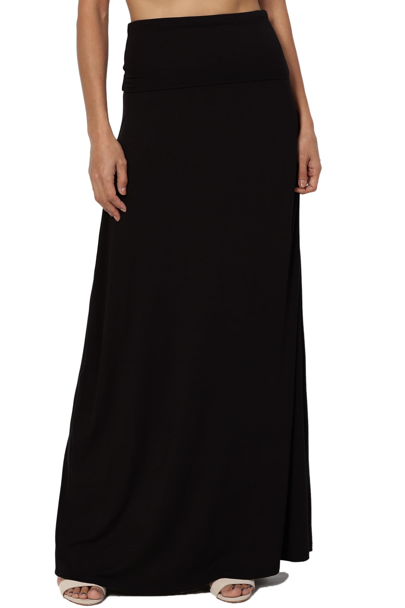 Maroon Double Layer Women Chiffon Retro Long Maxi Dress Elastic Waist Skirt