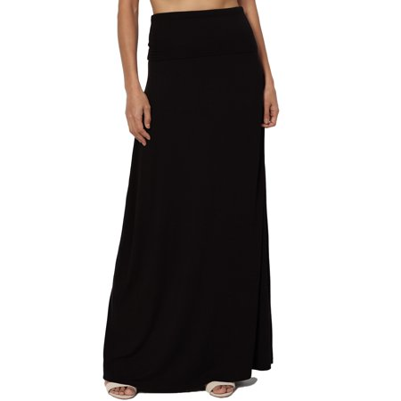 Edwardian Skirt (TheMogan Women's S~3X Casual Draped Jersey Foldable Waist Relaxed Long Maxi Skirt)