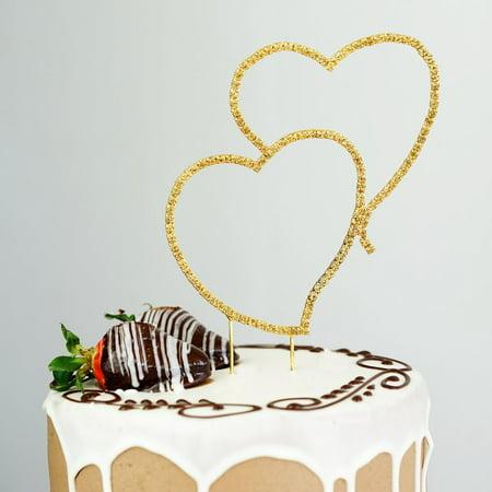 BalsaCircle Gold Double Heart Rhinestone Cake Topper - Personalized Monogram Wedding Party Decorations Double Heart Wedding Cake Top