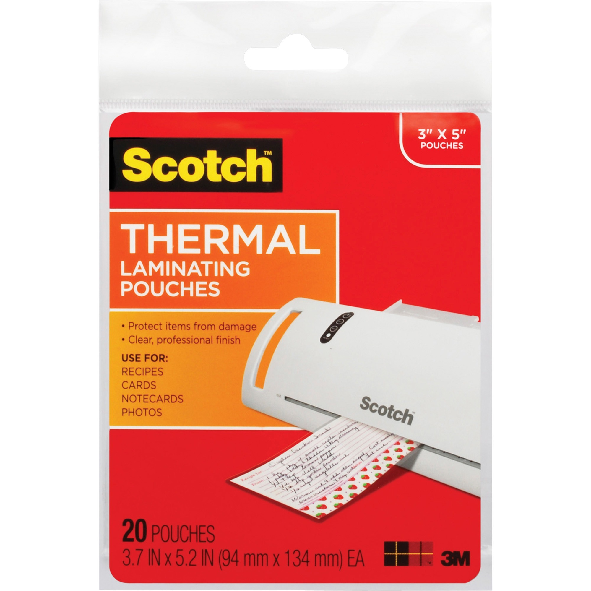 Scotch, MMMTP590220, Thermal Laminating Pouches, 20 / Pack, Clear