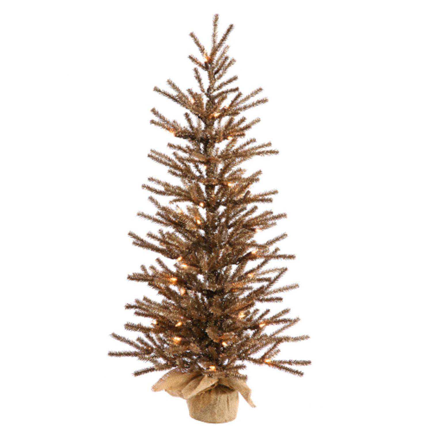 3' Pre-Lit Brown Artificial Tinsel Christmas Twig Tree in Burlap Base - Clear