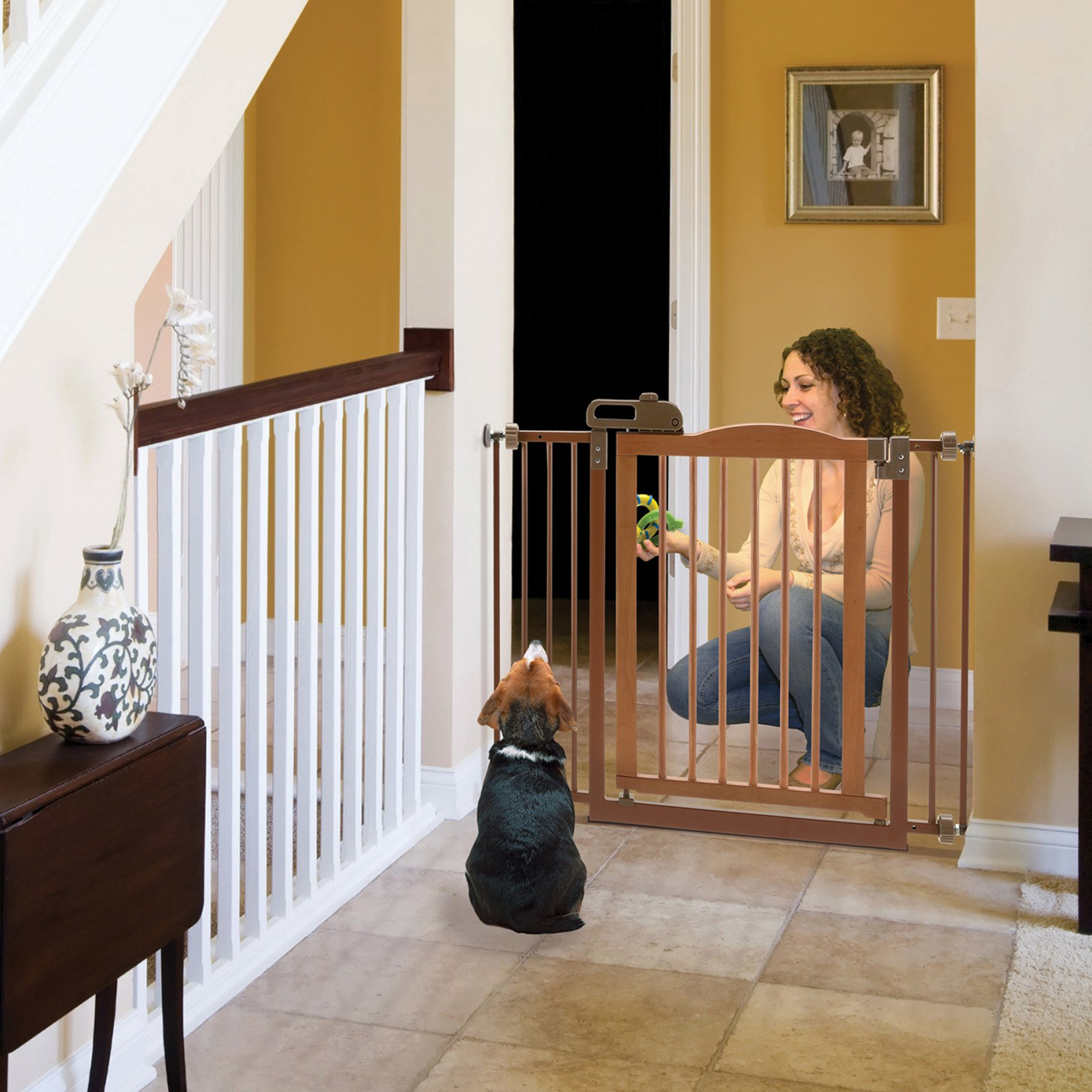 """Richell One-Touch Wide Pressure Mounted Pet Gate II, White, 32.1"""", 62.8"""" x 2"""" x 30.5"""""""