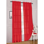 Elegant Comfort 2 Piece Solid Sheer Panel With Rod Pocket Window Curtain 40 Inch