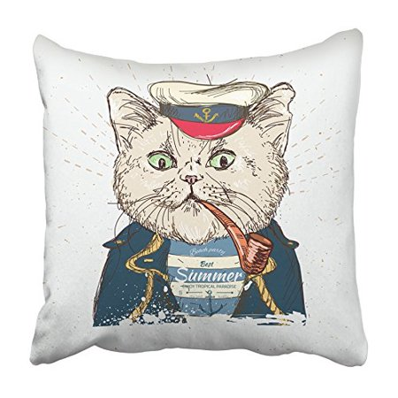 Blue Boy Painting (CMFUN White Sailor of Pirate Cat on Blue in Graphic Kitty Painting Admiral Animal Boy Pillowcase Cushion Cover 18x18 inch)